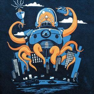 Robot Cthulhu Mash Up T-shirt TeeFury Blue 3XL